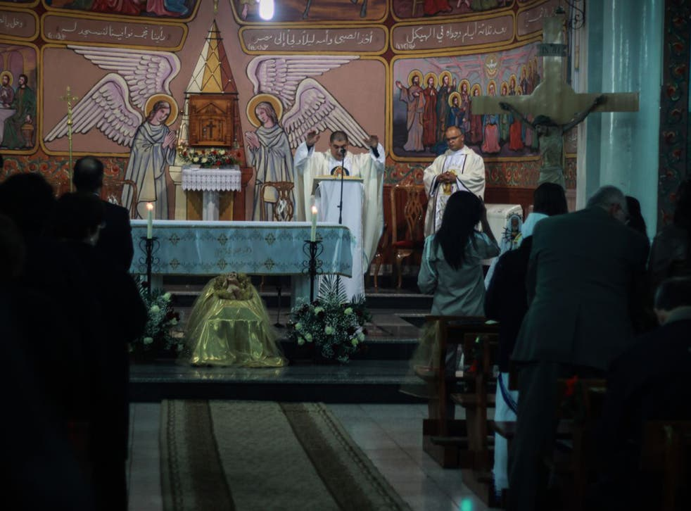 Christmas Eve 2014 is celebrated at St Thomas's Catholic Church, in Gaza. Around 700 of Gaza's 2,200 Christians attended the service (Motaz ALaaraj)