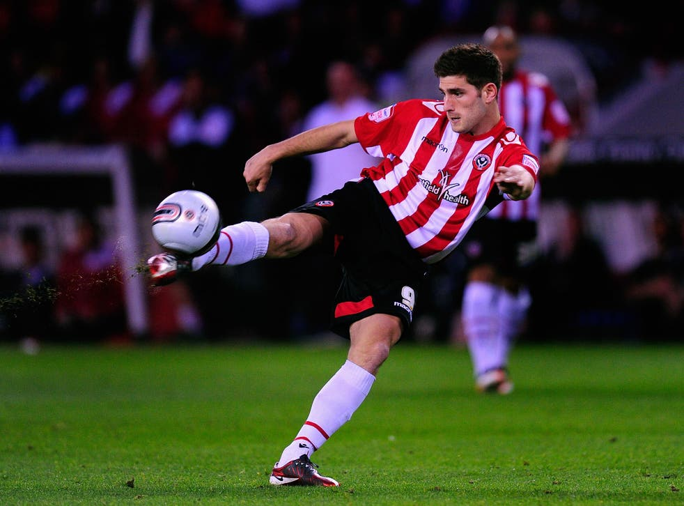 Evans playing for old club Sheffield United in 2011
