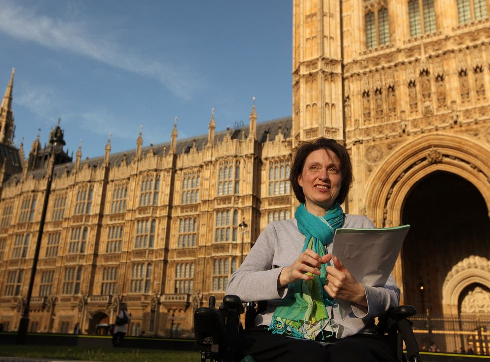 Debbie Purdy from Bradford pictured in front of the House of Lords following the Law Lords historic decision to clarify the law on assisted suicide on July 30, 2009