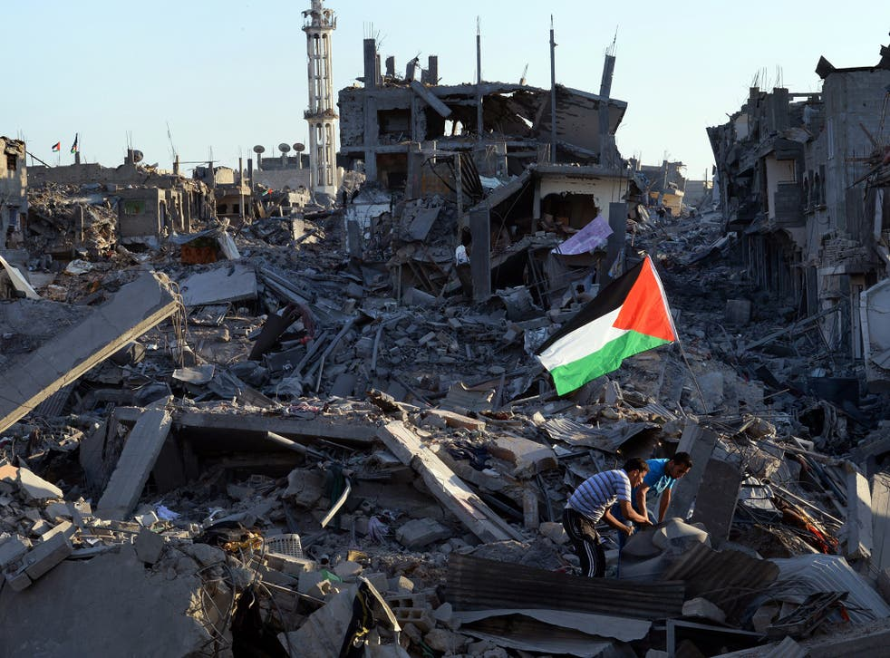 The rubble of the devastated neighbourhood of Shejaiya in Gaza City; just a fraction of the construction material required to rebuild has been delivered so far – only 1 per cent of the five million tonnes needed