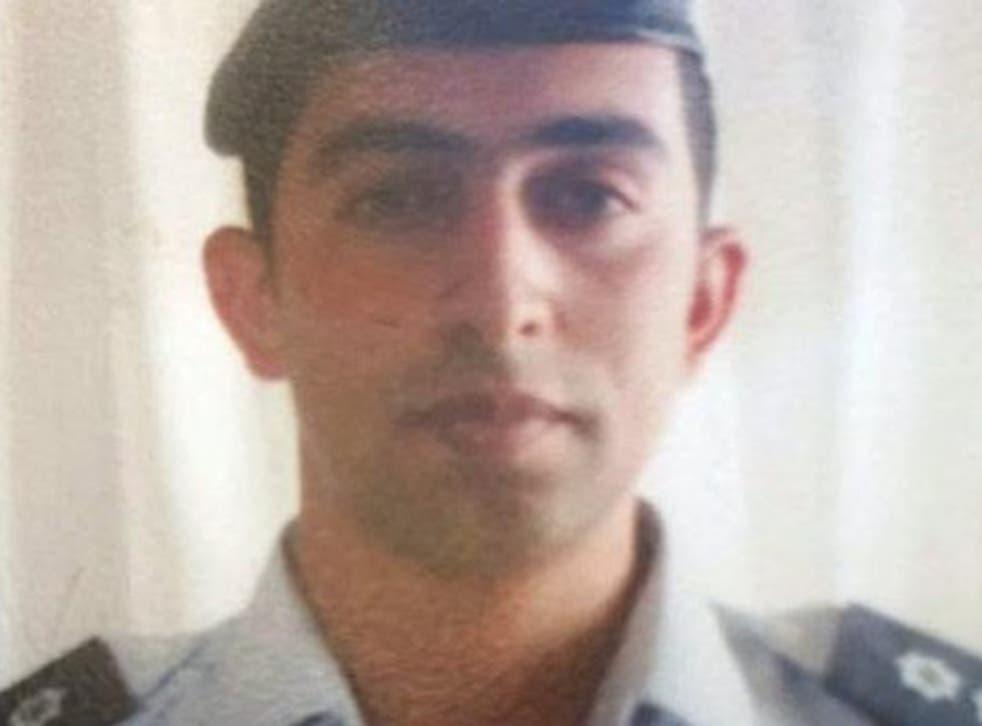 Flight Lieutenant Moaz Youssef al-Kasasbeh, 26, was taken hostage when his plane crashed last week whilst undertaking US-led air strikes against Isis (EPA)