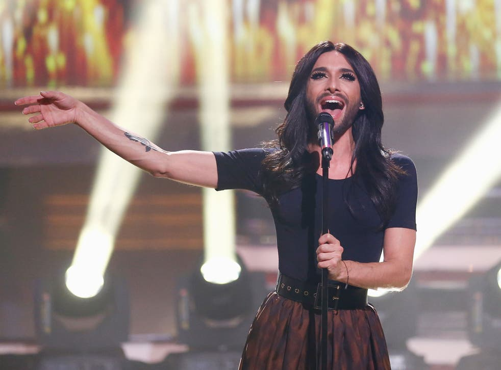 Conchita Wurst performing in Cologne, Germany, in December