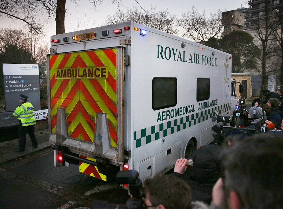 The convoy carrying Pauline Cafferkey arrives at The Royal Free hospital in London