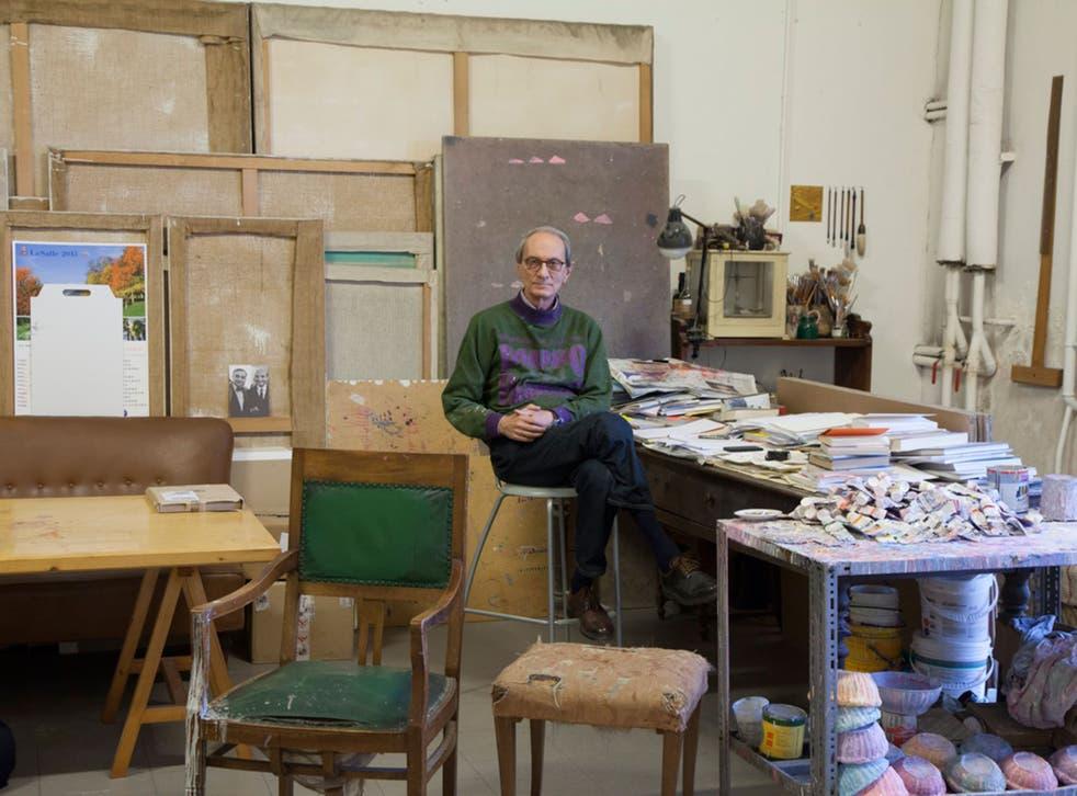 Giorgio Griffa in his Turin studio
