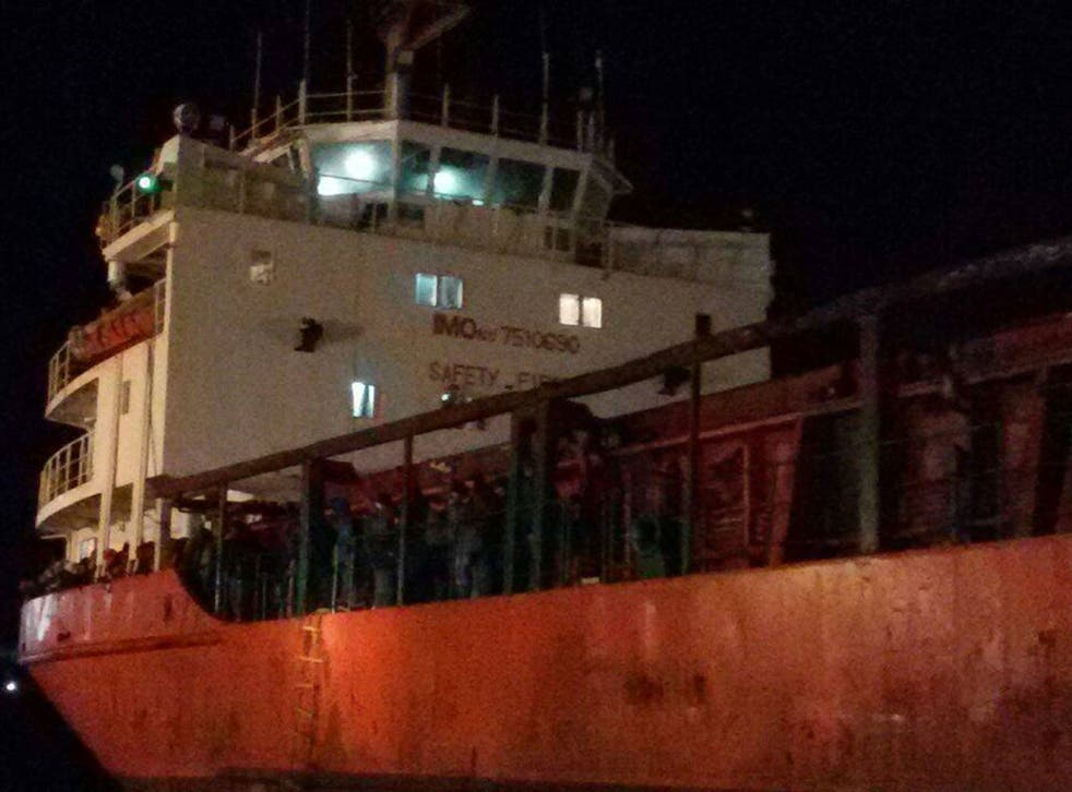 The Blue Sky M docked in Gallipoli. Picture: Red Cross