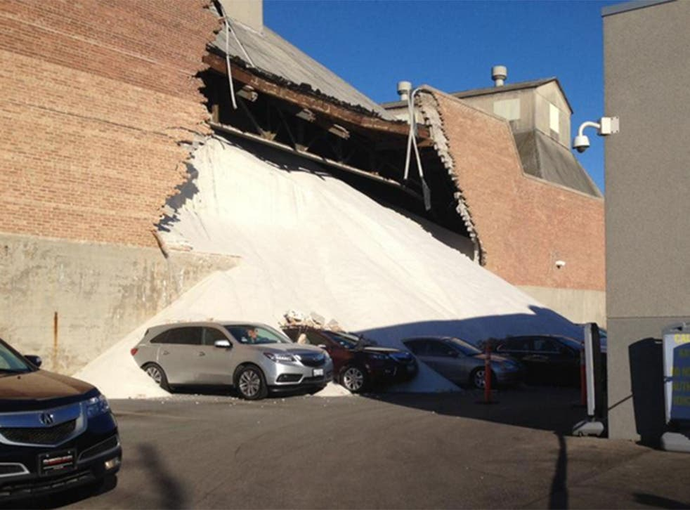 Salt factory wall collapses in Chicago.