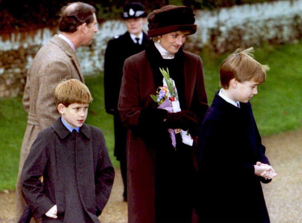 Princess Diana with Princes William and Harry in 1994