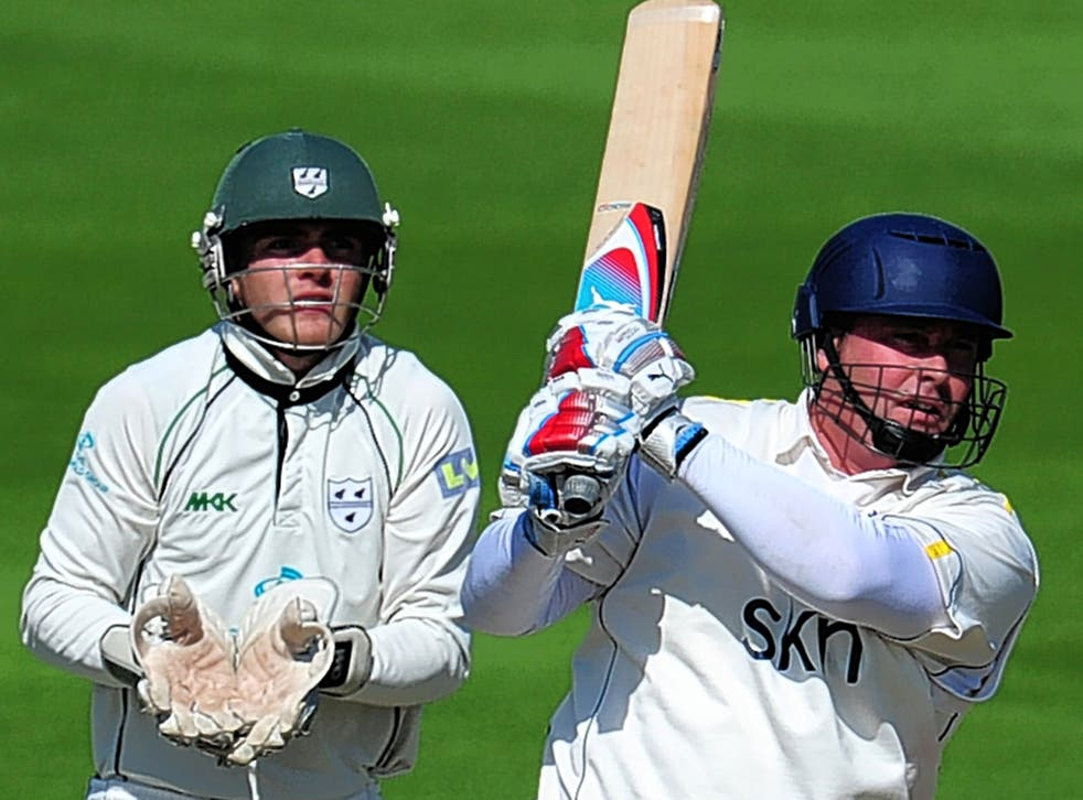 Ian Blackwell hits out during the twilight of his career at Warwickshire in 2012