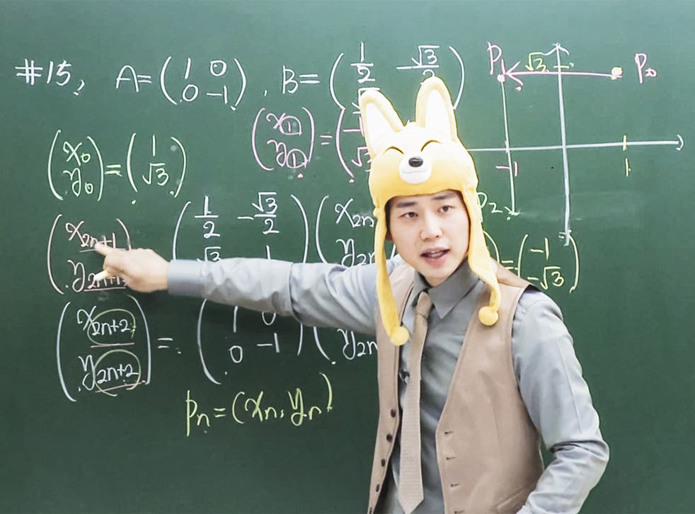 Maths tutor Cha Kil-yong wears bizarre costumes at his cram school