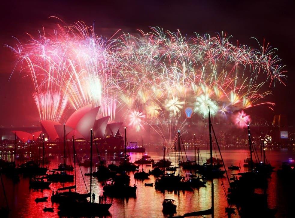 Fireworks above Sydney Opera House and the Sydney Harbour Bridge