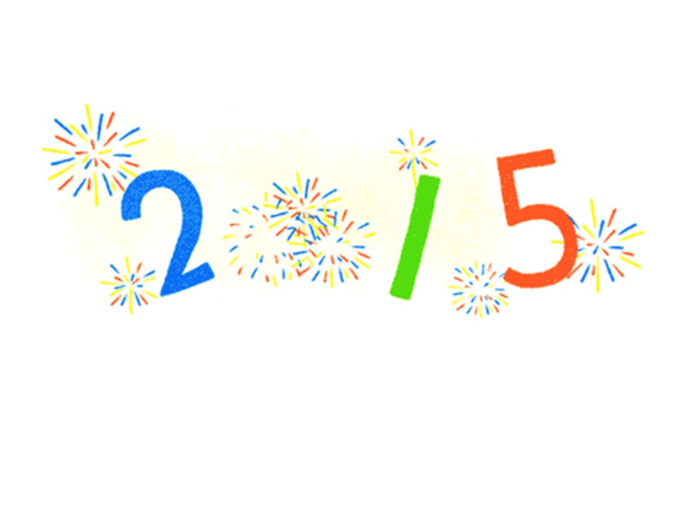 Google celebrates the first day of 2015 with a Doodle
