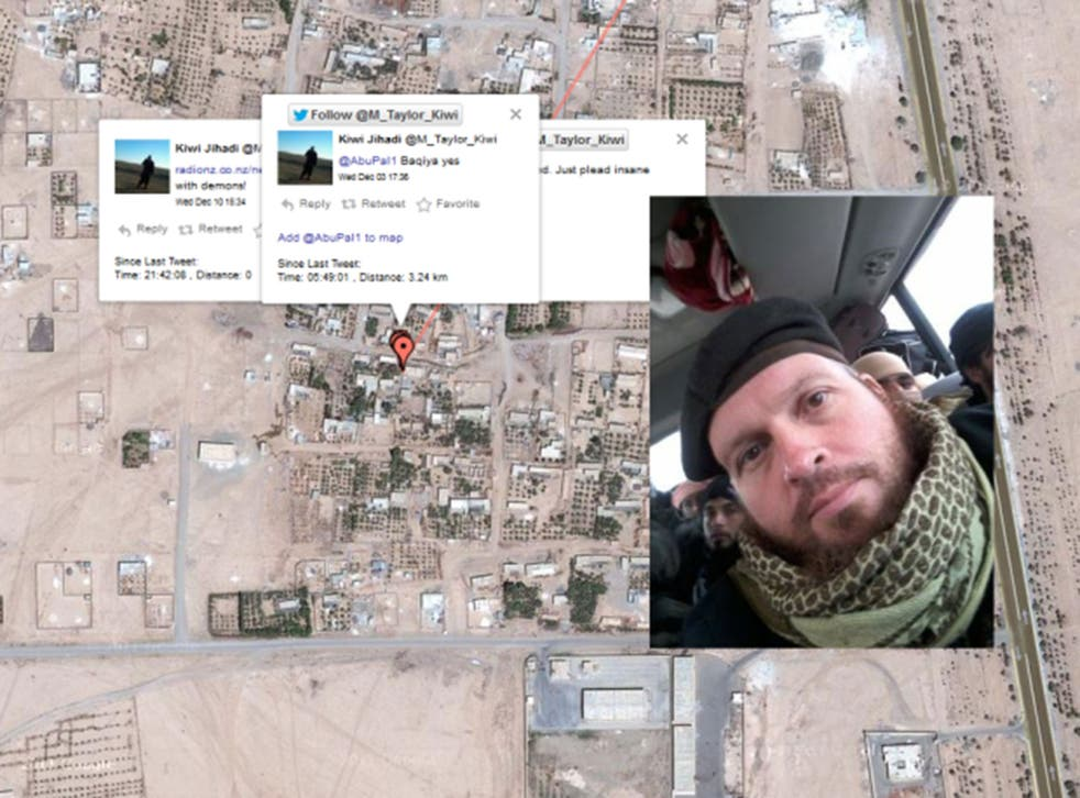 Some of Mark John Taylor's tweets, pinpointing his location in Syria
