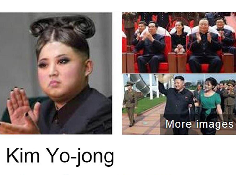 Kim Jong-un's sister Kim Yo-jong, as pictured on Google