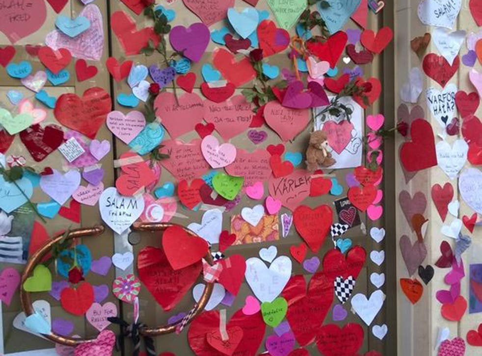 Messages of love on the mosque in in Uppsala, Sweden