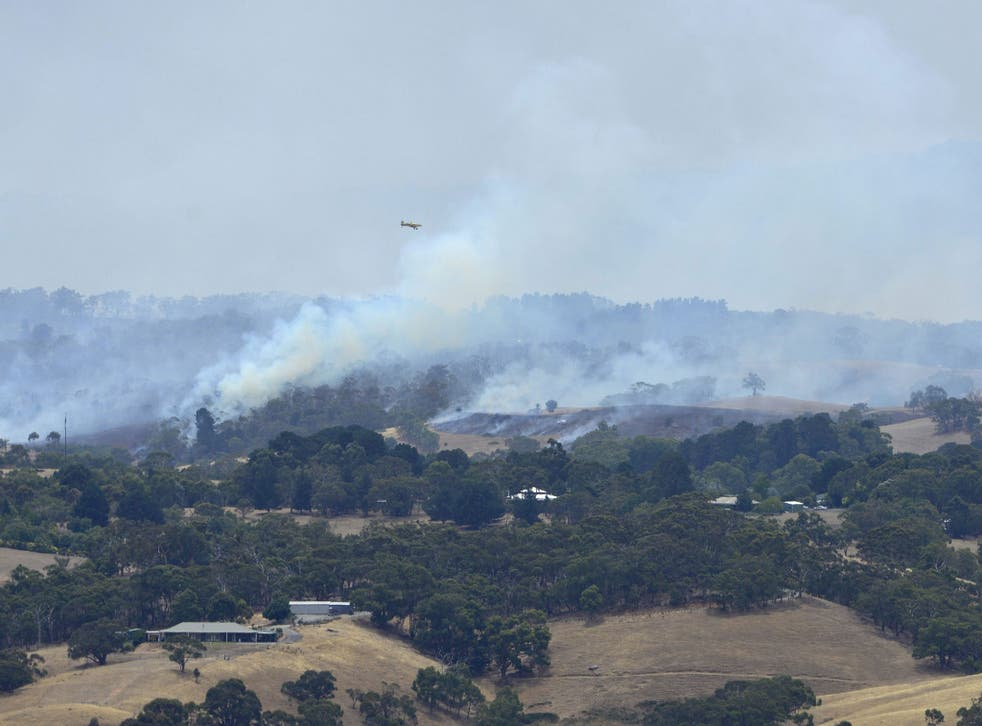 Bush fires rage out of control across the Adelaide Hills, in South Australia