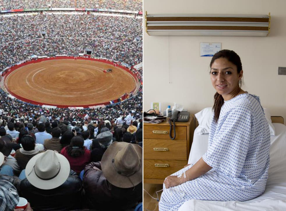 The Plaza Mexico bullring and Karla de los Angeles (AP/EPA)