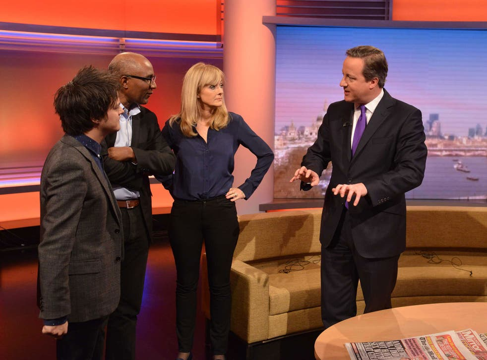 David Cameron with, from left, Jamie Cullum, Trevor Phillips and Jane Moore on 'The Andrew Marr Show'