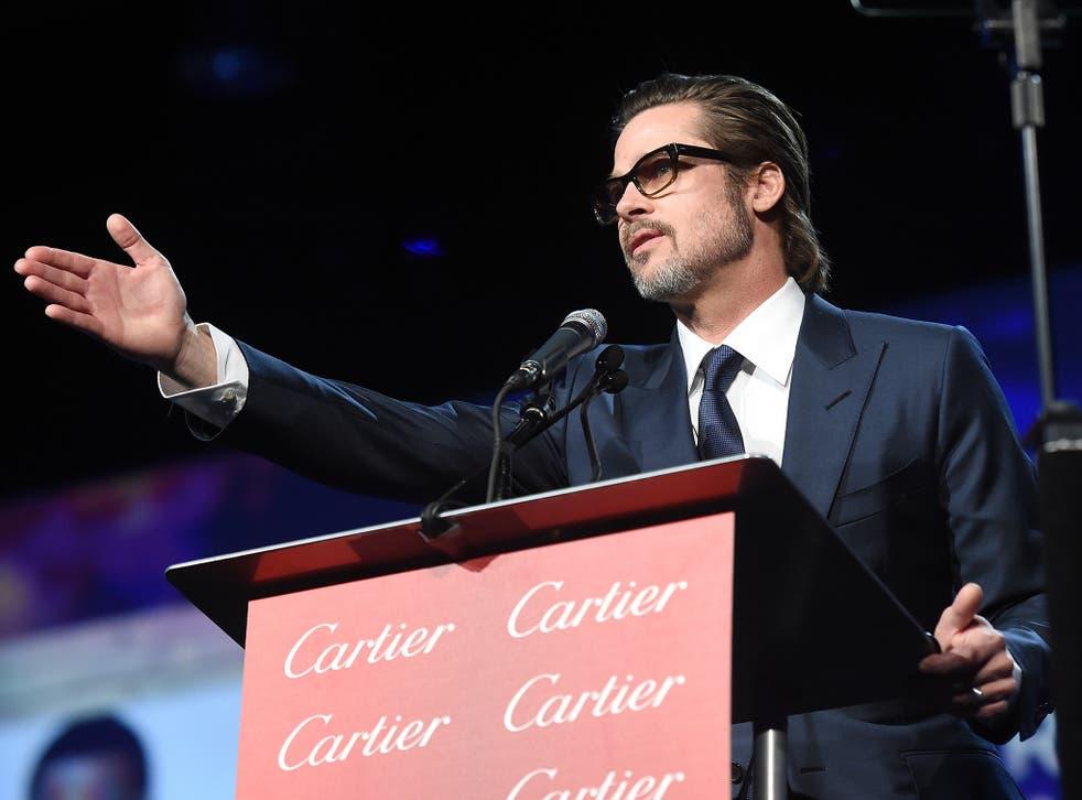 Brad Pitt speaks at the 26th Annual Palm Springs International Film Festival Awards Gala.