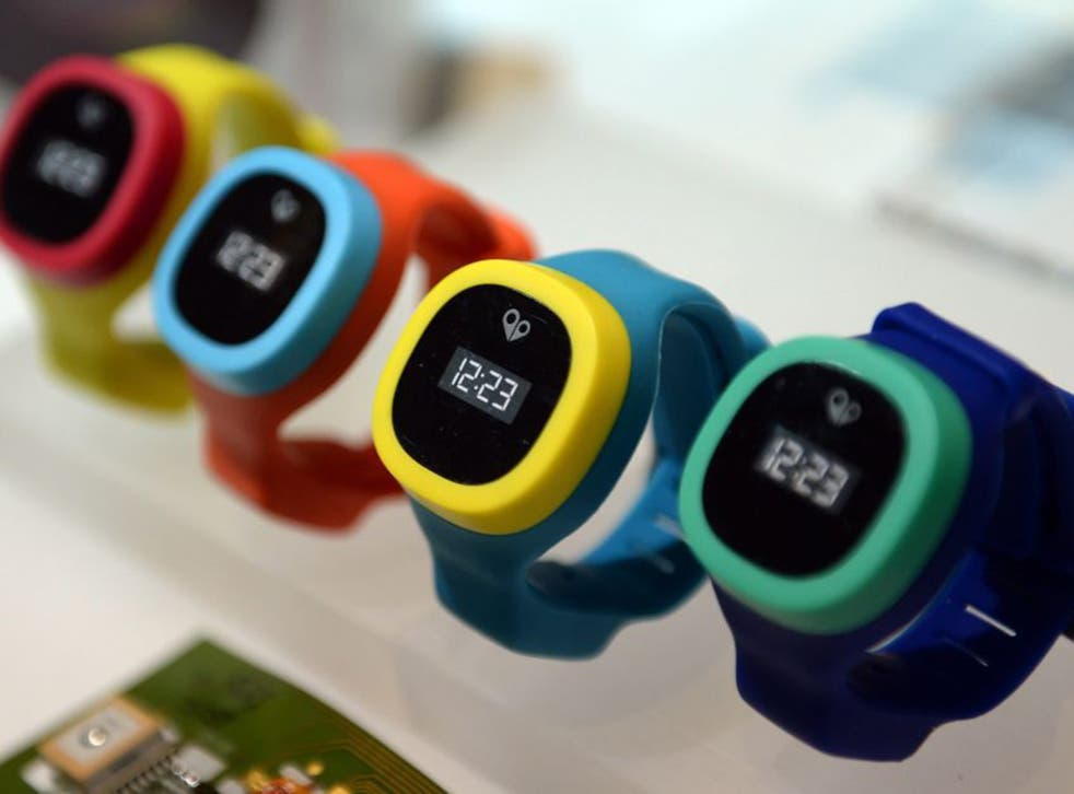 HereO children's watches, equipped with GPS so parents can locate their offspring, are on display at the International Consumer Electronics Show (CES) in Las Vegas (EPA)