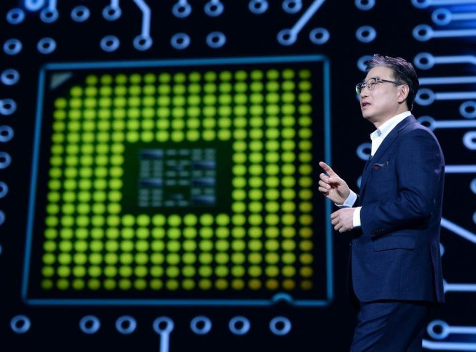 President and chief executive of Samsung Electronics, Boo-Keun Yoon, speaks during the Samsung keynote at the 2015 International Consumer Electronics Show (CES) in Las Vegas, Nevada, USA