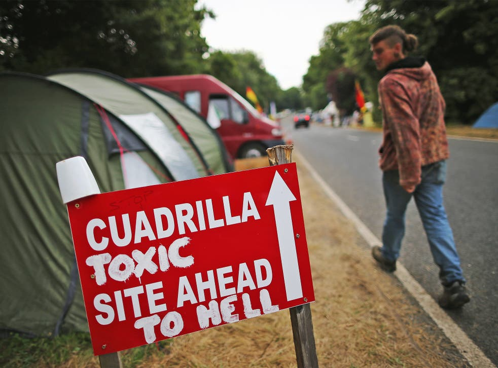 A protest near a drill site operated by Cuadrilla in Balcombe, West Sussex, in 2013