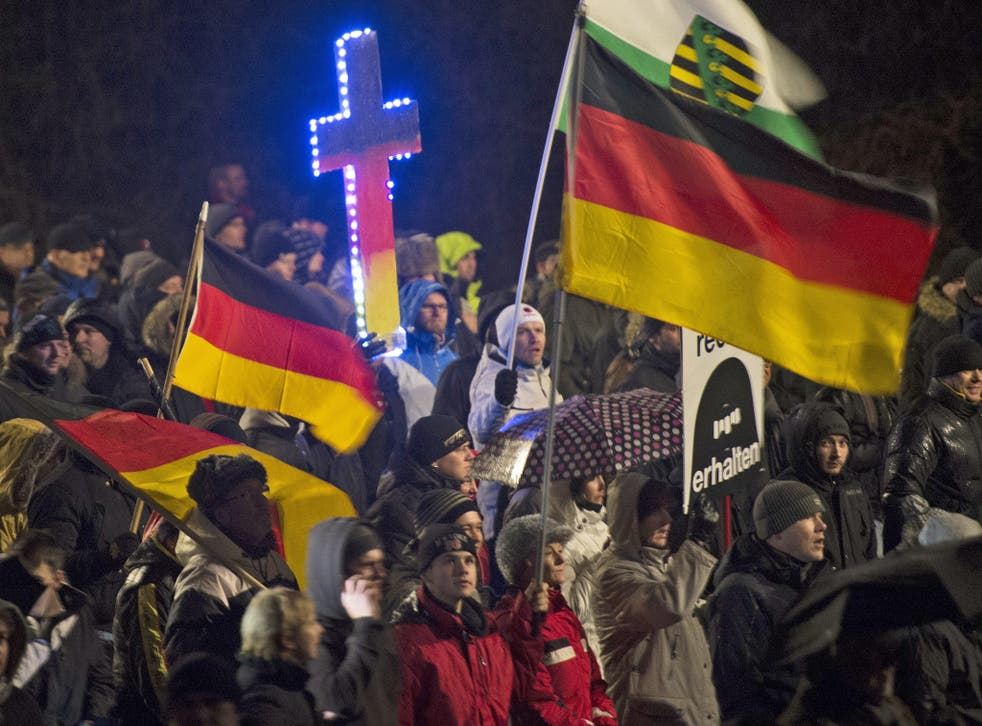 Demonstrators at an anti-Islamic rally in Dresden