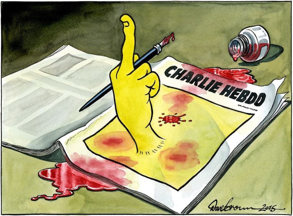 The cartoon produced by The Independent's Dave Brown following the Charlie Hebdo massacre