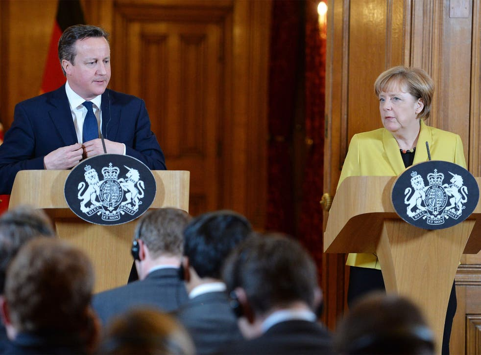 Prime Minister David Cameron and German Chancellor Angela Merkel hold a joint press conference inside 10 Downing Street