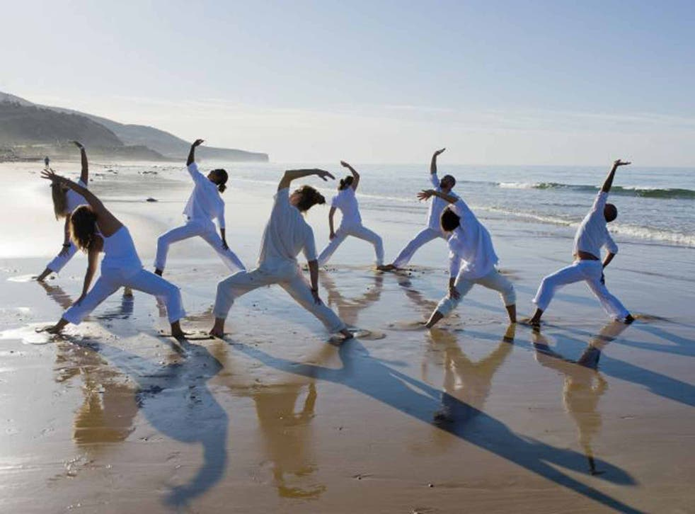 Sandy stretch: yoga at Paradis Plage