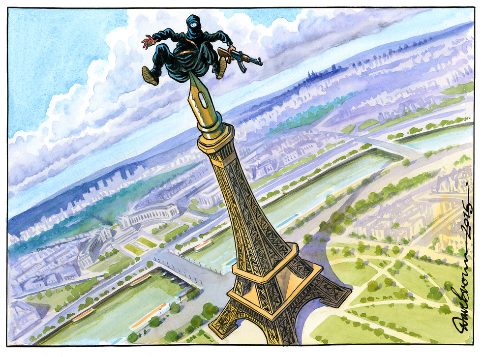 Dave Brown's illustrative take on the Paris attack for the Friday 9 edition of The Independent