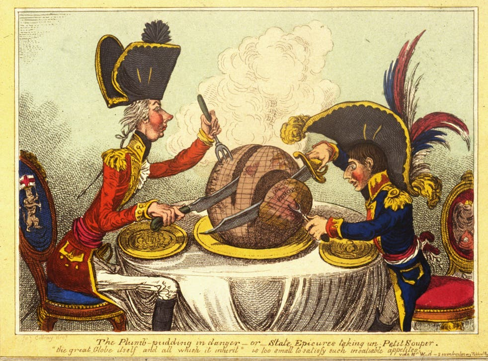 Strip tease: James Gillray's 1805 cartoon showing British PM William Pitt and Napoleon Bonaparte carving up the world between them