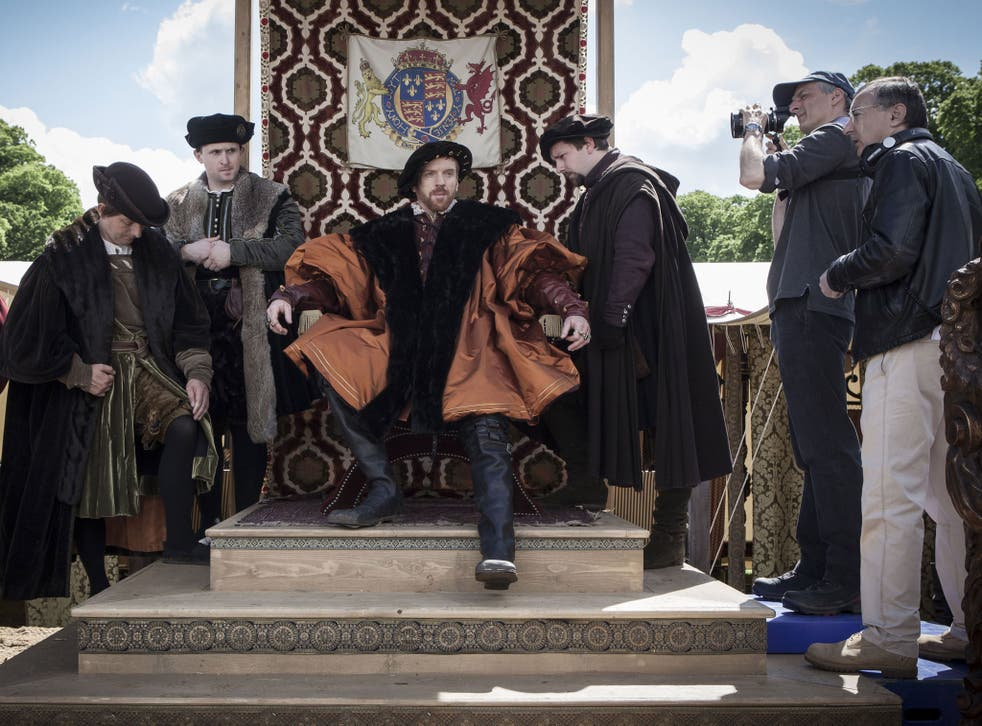 Damian Lewis shooting a scene as Henry VIII in Wolf Hall