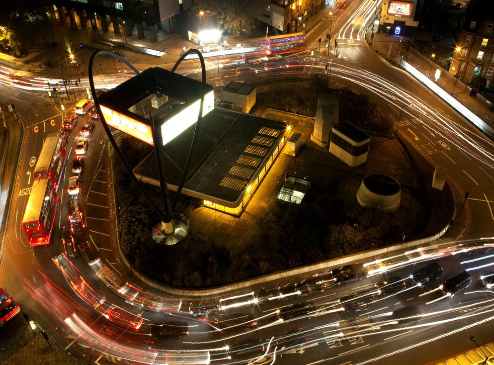 Vehicles negotiate the Old Street roundabout in Shoreditch, which has been dubbed 'Silicon Roundabout'