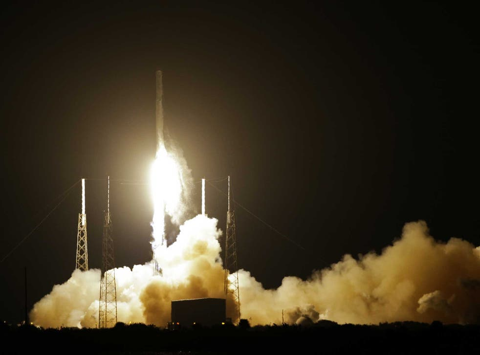 The Falcon 9 SpaceX rocket lifts off from Space Launch Complex 40 at the Cape Canaveral Air Force Station in Cape Canaveral