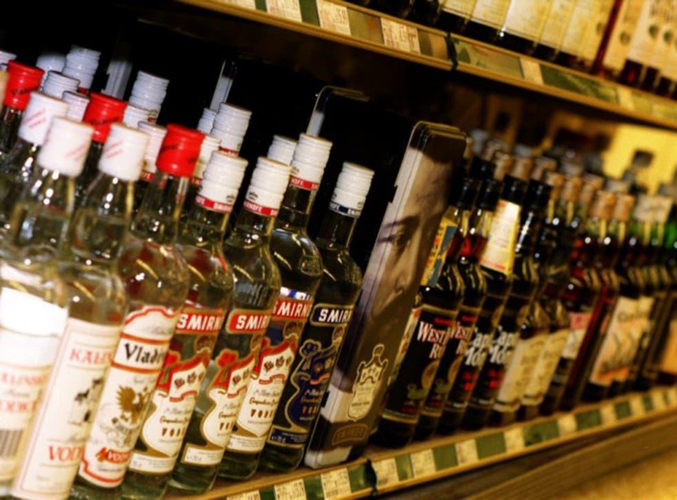 Vodka on shelves