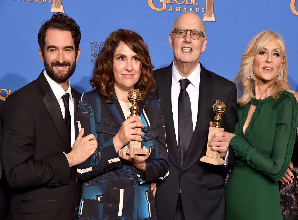 Actor Jay Duplass, writer/producer/director Jill Soloway, actors Jeffrey Tambor and Judith Light, winners of Best Actor in a Television Series Musical or Comedy for 'Transparent'