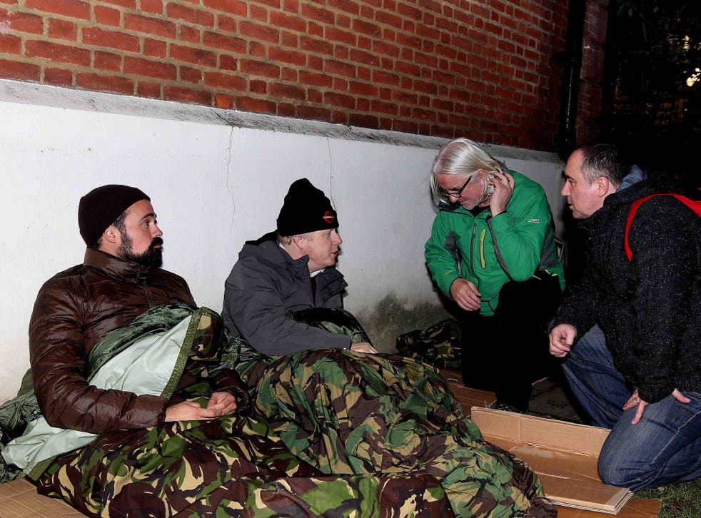Evgeny Lebedev (left) and Boris Johnson (second left), approached by Joe & Chris from St Mungos Broadway Outreach Team