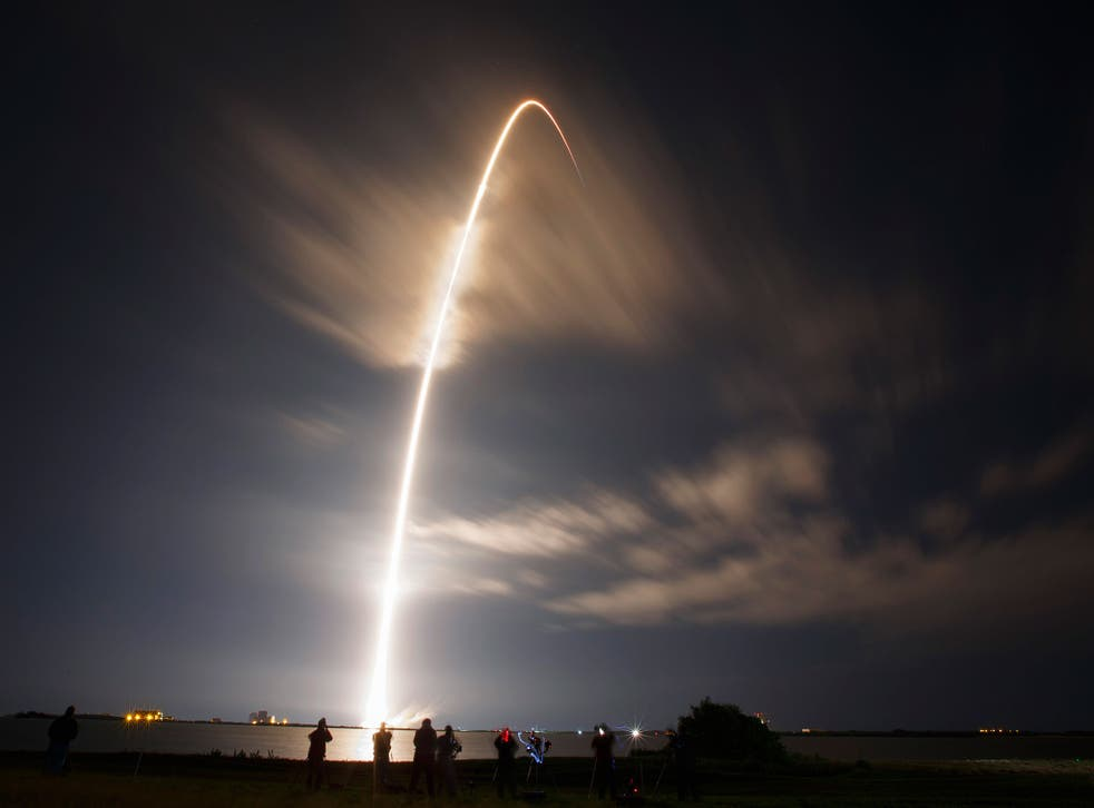 The unmanned Falcon 9 rocket launched by SpaceX, on a cargo resupply service mission to the International Space Station, lifts off from the Cape Canaveral Air Force Station in Cape Canaveral, Florida