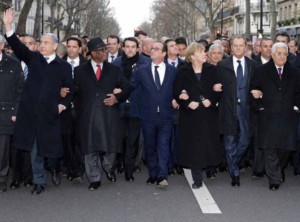 World leaders at Paris unity march