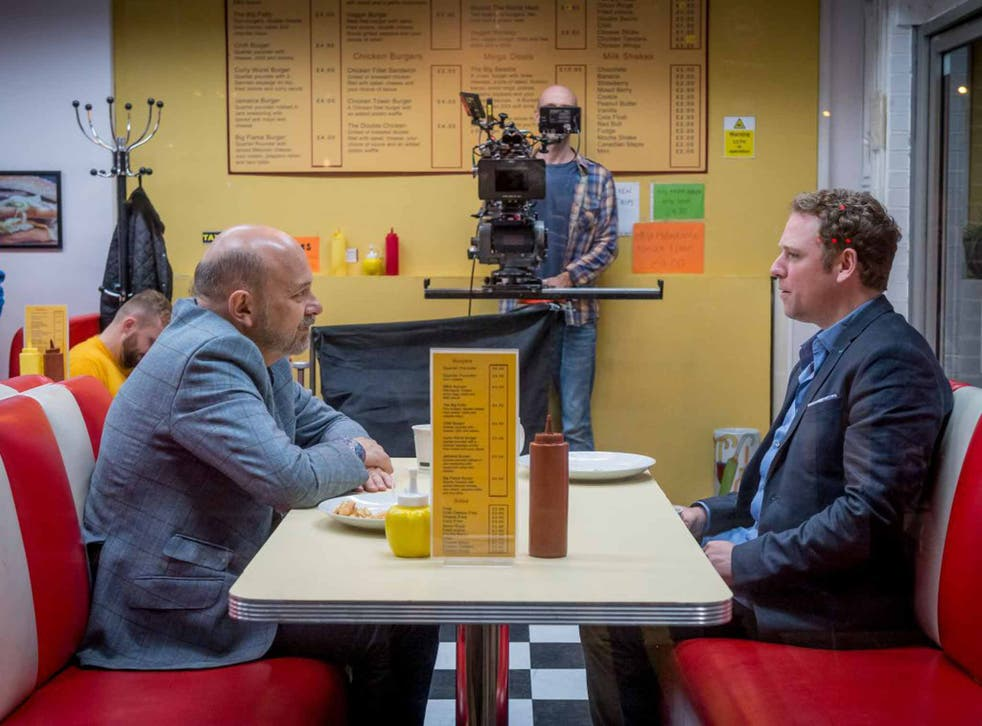 Saucy stuff: Vincent Franklin and Rufus Hound on the set of 'Cucumber'