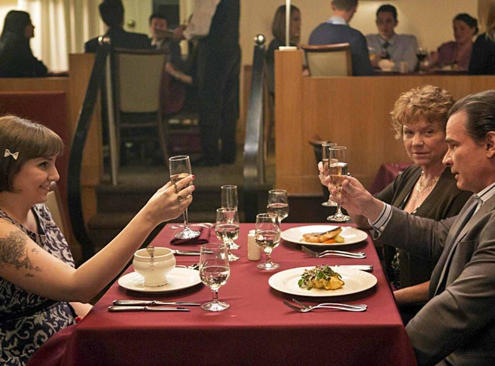 Making a meal of it: Lena Dunham, Becky Ann Baker and Peter Scolari in 'Girls'