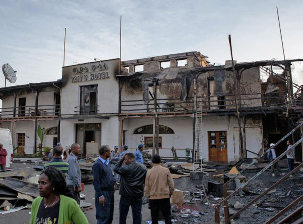 The fire-damaged Taitu Hotel in Addis Ababa after Saturday's blaze (AFP/Getty)