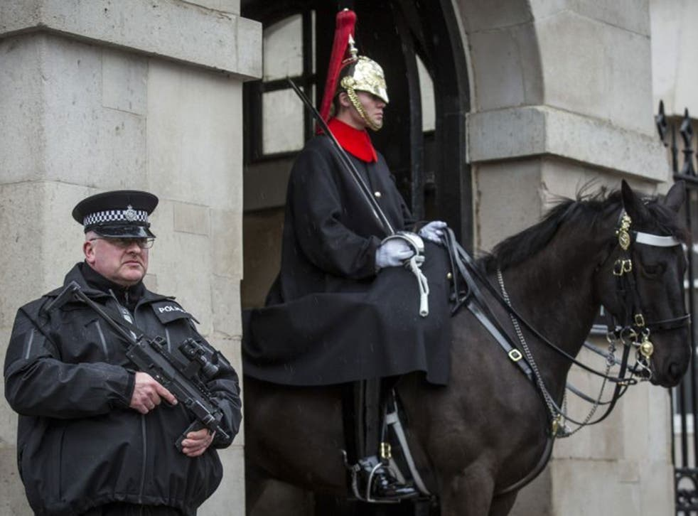 Armed police officers can frequently be seen at London landmarks