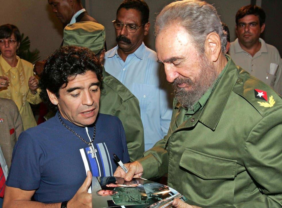 Diego Maradona and ex-Cuban President Fidel Castro in 2005.