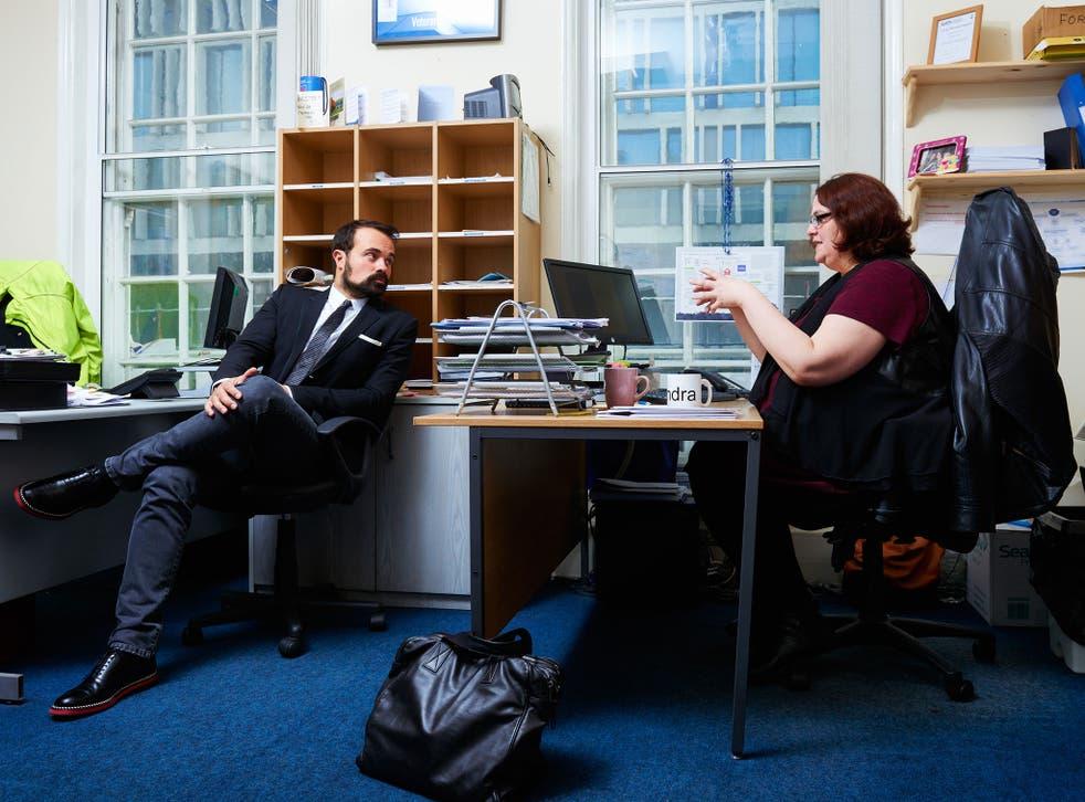 Evgeny Lebedev meets Debbie Langdon, Operations Caseworker with Veterans Aid