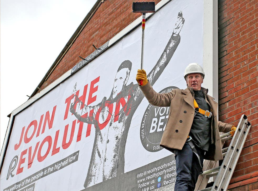 Bez launches his Reality Party outside Salford Cathedral in Greater Manchester, on Monday