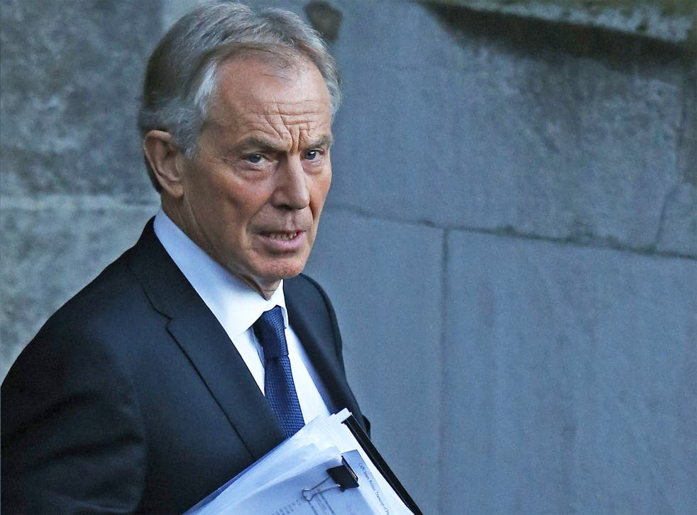 Tony Blair leaves the Houses of Parliament