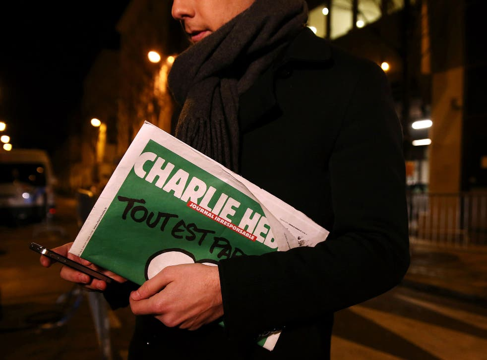 The latest edition of Charlie Hebdo magazine, featuring a cartoon of the Prophet Mohamed on the front cover