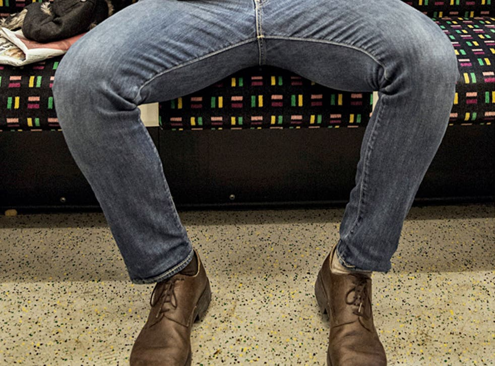 An example of manspreading on the London Underground