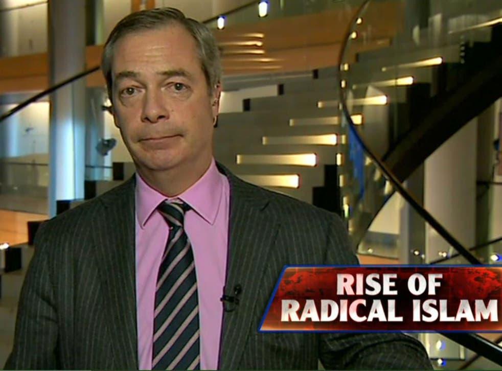 Nigel Farage appearing on Fox News